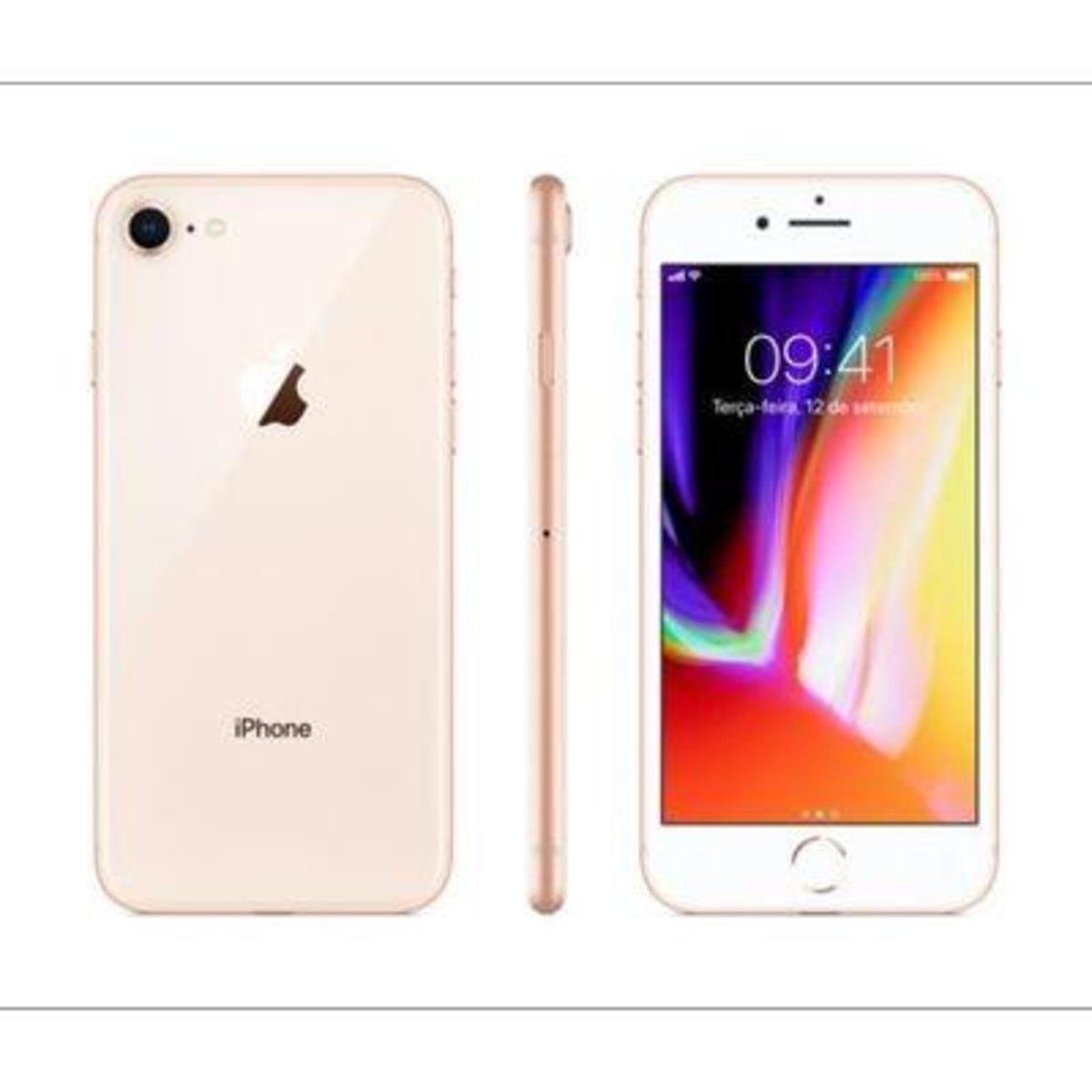 Apple Iphone 8 Dourado 64 Gb Com 4,7,ios 11,processador A11,câmera de 12mp Desbloqueado