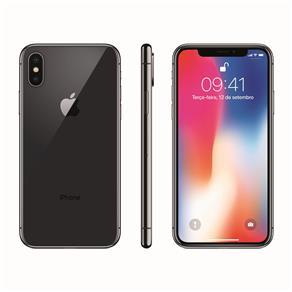 Iphone X Apple Com 256gb, Tela Retina Hd de 5,8, Ios 11, Dupla Câmera Traseira, Resistente à Água e Reconhecimento Facial - Cinza-espacial