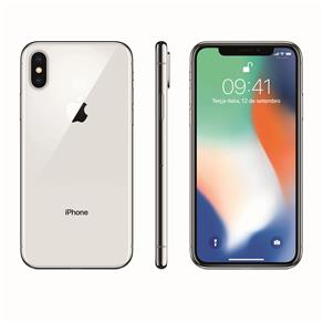 Iphone X Apple Com 256gb, Tela Retina Hd de 5,8, Ios 11, Dupla Câmera Traseira, Resistente à Água e Reconhecimento Facial - Prateado