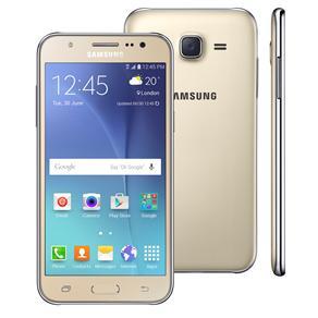 Smartphone Samsung Galaxy J5 Duos Dourado Com Dual Chip, Tela 5.0\, 4g, Câmera 13mp, Android 5.1 e Processador Quad Core de 1.2 Ghz
