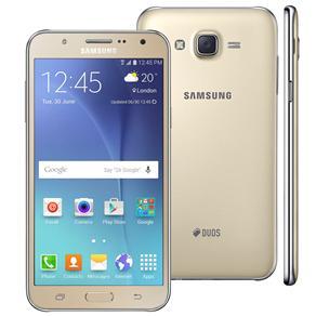 Smartphone Samsung Galaxy J7 Duos Dourado Com Dual Chip, Tela 5.5\, 4g, Câmera 13mp, Android 5.1 e Processador Octa Core de 1.5 Ghz