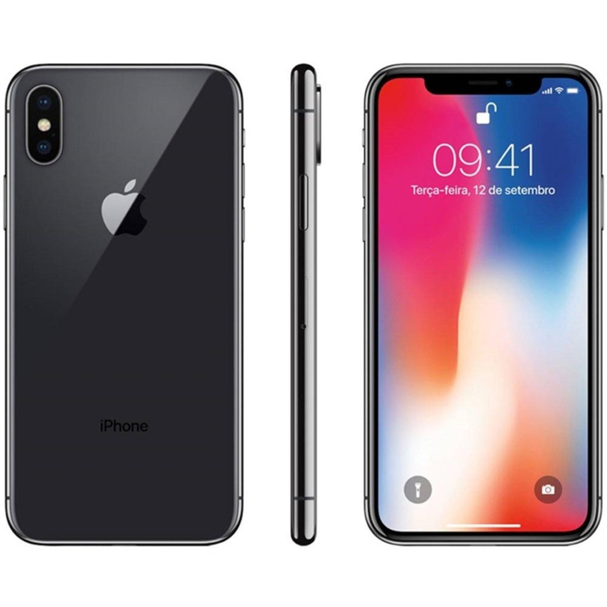 Iphone X Cinza Espacial 256gb Tela 5.8' Ios 11 4g Wi-fi Câmera 12mp - Apple
