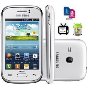 Celular Smartphone Samsung Galaxy Young Duos Tv S6313 - Android 4.1, 3g, Wi-fi, Câmera 3mp, Memória Interna 4gb, Gps, Tv Digital - Branco