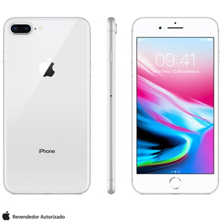 Iphone 8 Plus Prata, Com Tela de 5,5\u201d, 4g, 256 Gb e Câmera de 12 Mp - Mq8q2bz\/a Bivolt